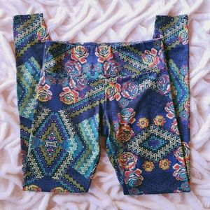 Onzie Floral Rose Blue Abstract Legging Small